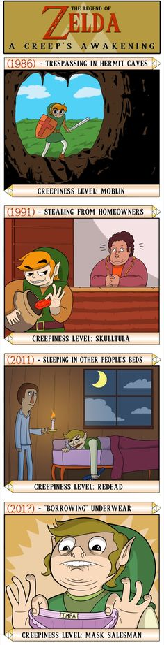 Poor Link, so misunderstood... Wait, he steals panties in the last panel? Link, no. Bro, no. Just no. You can't even talk to women let alone do that.