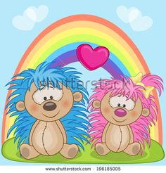 Valentine card with Lovers hedgehogs - stock vector