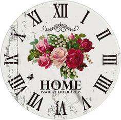 shabby jam Clock Art, Diy Clock, Paper Clock, Clock Face Printable, Clocks Inspiration, Clock Template, Happy Birthday Vintage, Unusual Clocks, Paisley Art