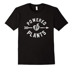 Powered By Plants Funny Distressed Vegetarian T-Shirt