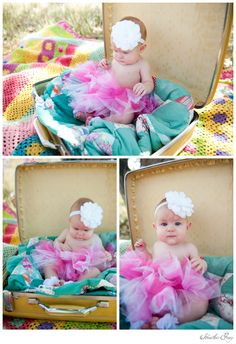 Great baby photo ideas... tutu and a vintage suitcase?  It's heaven!  Photos by the amazing Heather Gray...  ;)