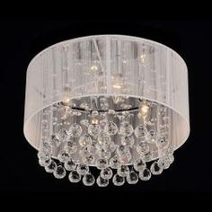 Flushmount 4-light Chrome and White Crystal Chandelier, do this one in the master bath to go with the chandelier in your master bedroom