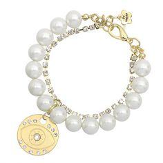 Pearl & Crystal Chain Evil Eye Bracelet