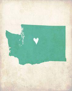 Washington Love State Customizable Art Print. $16.00, via Etsy.