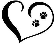Herz mit Pfoten Dog Tattoos, Cat Tattoo, Body Art Tattoos, Tatoos, Pet Memorial Stones, Memorial Tattoos, Silhouette Design, Ink Color, Dog Art