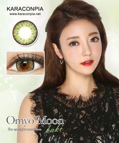 #カラコン #カラコンぴあ ★オンミョウムーンカーキ(Omyo Moon khaki Green) DIA 14.5mm★ クッキリとしたふち。ハッキリとしたゴールドカーキカラーのビックサイズレンズ。