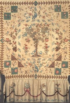 """Mary Johnston, Tree of Life Quilt, United States, 97"""" x 96"""", 1793 (Signed and Dated). Made from fabric printed in England in late eighteenth century.  From the Winterthur Museum Collection – Object 1968.0766."""