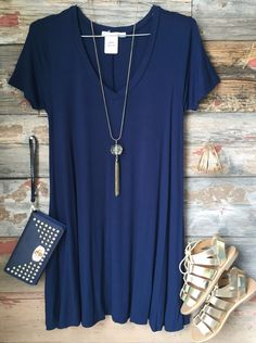 These t-shirt dresses are great whether you dress them up or down! The v neckline and flowy fit make this piece fabulous and versatile. Perfect for any occasion. 95% Rayon, 5% Spandex #summerfun #summ