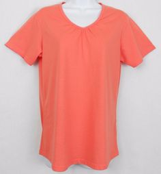 This women's Natural Reflections size L short sleeve knit top features picot trim and neckline ruching and would be perfect, layered, for Fall and Halloween! #NaturalReflections #KnitTop #Casual