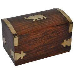 Small Brass Inlay Wooden Jewelry Box