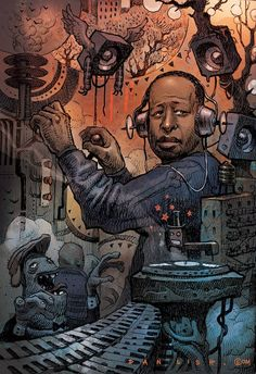 DJ Premier. Illustration by DAN LISH.