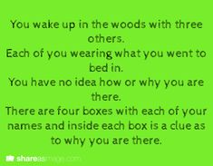 You wake up in the woods with three others...