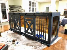 Two years ago, I built a fancy kennel for our new puppy. We've since added another puppy and moved into a new house, so I wanted to build a double kennel for both of them. The wire crate ki… Dog Kennel Designs, Diy Dog Kennel, Dog Kennels, Decorative Dog Crates, Dog Crate Furniture, Bed Furniture, Double Dog Crate, Diy Dog Crate, Dog House Plans