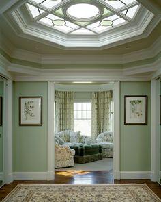 Octagonal Skylight......love the mint walls
