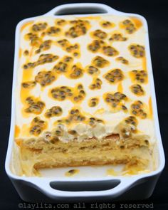 ~~~Fun Recipe World ~~~ Passion Fruit Tiramisu Recipe. No Bake Desserts, Just Desserts, Passionfruit Recipes, Cupcakes, Food Cakes, Sweet Recipes, Bakery, Sweet Treats, Cooking Recipes