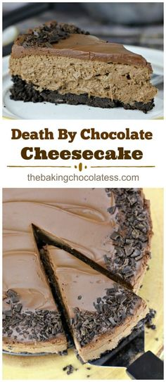 "Easy No Bake ""Death By Chocolate"" Cheesecake via @https://www.pinterest.com/BaknChocolaTess/"