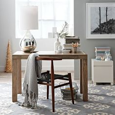 "Parsons Desk - Bone Inlay #westelm; 48""w x 24""d x 30""h. Hand-inlaid bone tile; solid mango wood with natural color variations. Two drawers close flush. Made in India.;$599 + $30 delivery"