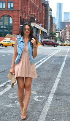 Love the nude dress and shoes with the denim vest!