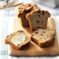 Elvis Banana Bread Recipe -As a toddler, my son loved bananas, so we always had them in the house. We didn't always eat them all before they were too ripe, so we experimented beyond basic banana bread. That's how we came up with Elvis bread! —Liz Somppi, Greenfield, Wisconsin