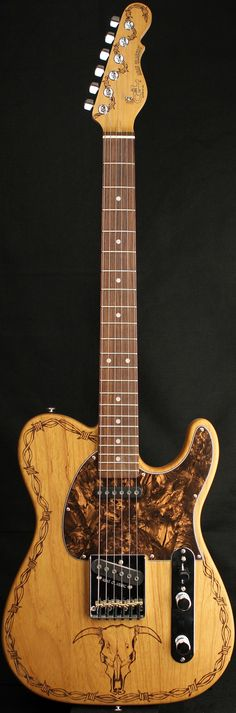 "G&L Guitars ASAT® Classic ""The Wrangler"", Custom engraved/branded Swamp Ash body, Hard Rock Maple neck with Rosewood Fingerboard. Custom artwork by Johnny Garcia"