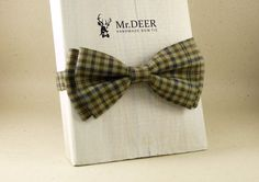 Green  Chacked Bow Tie  Ready Tied Bow Tie  Adult by MrDEERbowtie
