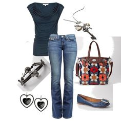 like the simplicity of a t and jeans -- LOVE the draped neck of the t, the blue shoes with buckles, and the fun bag!
