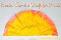 Easter Sunrise Craft for Kids - Parent Teach Play Coffee Filter Art, Coffee Filter Crafts, Coffee Filters, Sun Crafts, Holiday Crafts, Crafts For Kids, Easter Activities, Preschool Activities, Children's Church Crafts