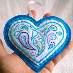 Pin Cushion Blue Heart OOAK Paisley  Handmade by TammieWormanArt