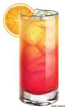 Tequila Sunrise    2 parts tequila  5 parts orange juice  1/2 part grenadine  1 orange slice and 1 maraschino cherry to garnish