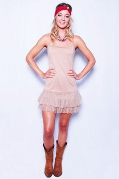 Over Under Dress - Taupe  With garnet headband and boots - we love this look for cheering on your Tallahassee boys!