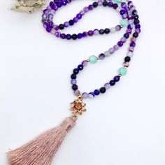 Tassel mala beaded necklace with a perfect lotus charm