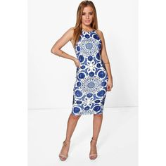 7975868ede Boohoo Petite Sally Printed Strappy Midi Dress (1,465 INR) ❤ liked on  Polyvore featuring dresses, white dress, white day dress, petite midi  dress, ...