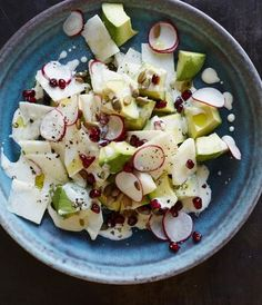 Creamy avocado, crisp jicama, crunchy radish, and chewy pumpkin seeds provide an array of textures.