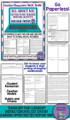 Are you looking for a way to go paperless and dazzle your students with creative and engaging 21st Century learning opportunities? Start going digital from the very beginning with the All About Me: Letter to My Teacher Google Drive Digital Resource, a Back to School favorite of mine!