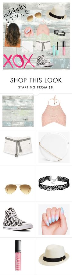 """""""Going Undercover"""" by leticia-queen ❤ liked on Polyvore featuring WallPops, GALA, River Island, MANGO, Boohoo, Ray-Ban, Converse, Melissa Odabash, GetTheLook and hats"""