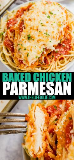 Baked Chicken Parmesan is a quick and easy version of a classic family favorite. Your family will fight for seconds! Baked Chicken Parmesan is a quick and easy version of a classic family favorite. Your family will fight for seconds! Chicken Parmesan Recipes, Baked Chicken, Gourmet Recipes, Cooking Recipes, Cooking For Two, Cooking Light, Easy Cooking, Cooking Time, Pasta