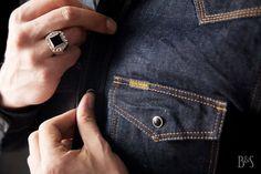 Iron Heart IHSH-33 Denim Shirt and Fine Light Trading Hex Onyx Ring at Burg & Schild