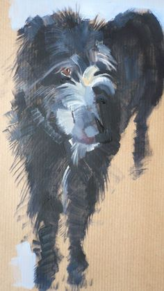 Dogs in Art at the StockBridge Gallery - Black Shaggy and Gorgeous Lurcher Painting by Sally Muir, SOLD but similar can be painted to order (http://www.dogsinart.com/products/Black-Shaggy-and-Gorgeous-Lurcher-Painting-by-Sally-Muir.html)