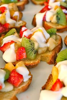 Fruit Bruschetta. Colorful And Very Healthy.