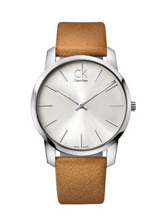 bf1466026a8d4 Calvin Klein women's / men's / unisex analog analogue watch silver and  leather | CK @