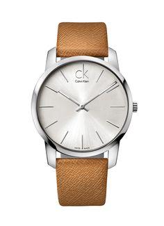 Calvin Klein women's / men's / unisex analog analogue watch silver and leather   CK @ De Bijenkorf €165