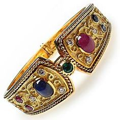 Etruscan Style Estate Cuff Bracelet Sapphire Ruby Emerald & Diamond Solid 18K Gold