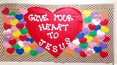 each student writes something on a small heart Religious Bulletin Boards, Bible Bulletin Boards, February Bulletin Boards, Valentines Day Bulletin Board, Christian Bulletin Boards, Winter Bulletin Boards, Preschool Bulletin Boards, Bullentin Boards, Sunday School Classroom