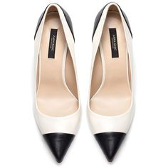 Zara two-tone black and white court shoes Shoeperwoman ❤ liked on Polyvore featuring shoes, pumps, heels, 2 tone shoes, black white shoes, black and white two tone shoes, two tone pumps and white and black shoes