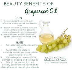 7 Beauty Benefits of Grapeseed Oil for Hair & Skin. Click for a nutrient rich butter blend featuring this oil along with many others