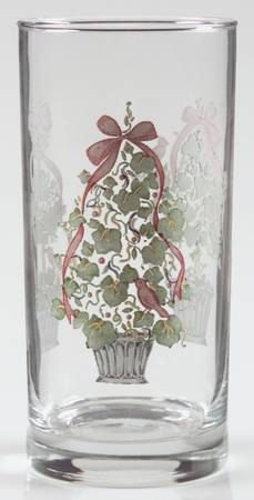 Corelle CALLAWAY HOLIDAY Lot of 2 Cooler Glasses Ivy Green Leaves Red Ribbons 16 oz NEW taken out of original box by libertyhallgirl on Etsy  $14.99