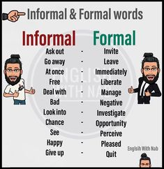 >> ✪-Formal and informal language serve different purposes. The tone, the choice of words and the way the words are put together vary… English Learning Spoken, Learn English Words, English Phrases, English Idioms, English Language Learning, English Lessons, Teaching English, English Grammar, Book Writing Tips
