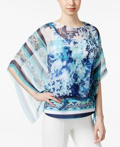 Style & Co. Printed Sheer Poncho Blouse, Only at Macy's