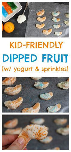 Kid-friendly dipped fruit makes a simple snack or sweet treat. Choose your favorite fruit and dip such as yogurt, peanut butter, or chocolate, and be sure to get your kids involved in the dipping assembly line! @MomNutrition