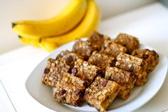 Healthy peanut butter banana chocolate oatmeal snack bars...very good! No white sugar used and only 1/4 c. brown sugar! Healthy and still taste good! :)